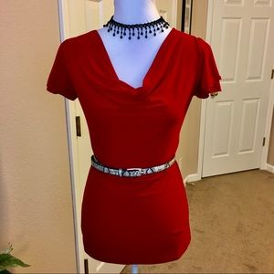 3/$20 American City Wear Cowl Neck Red Blouse, S